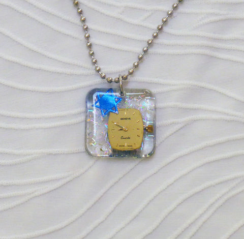 Hand Crafted Pendant with chain. One of a Kind Wearable Judaica Art  # P-007