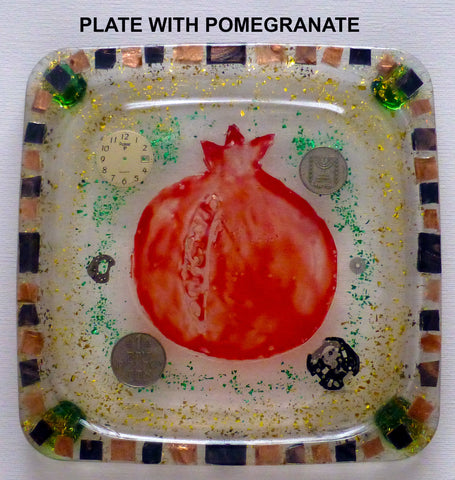 Hand Crafted Plate with Pomegranate.  One of a Kind Judaica Art for your Home # PL-004
