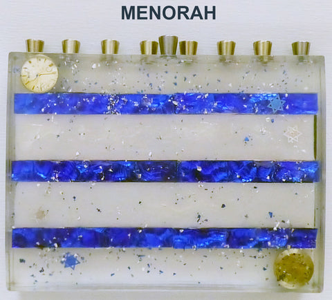 Hand Crafted Blue and White Menorah.  One of a Kind Judaica Art for your Home # ME-001