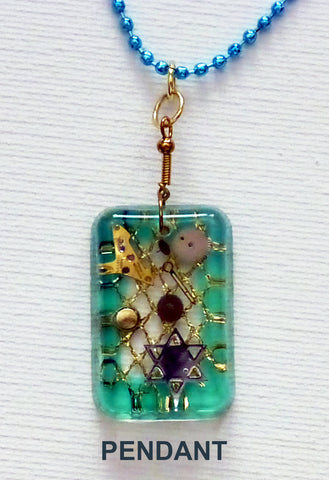 Hand Crafted Pendant with chain. One of a Kind Wearable Judaica Art  # P-016