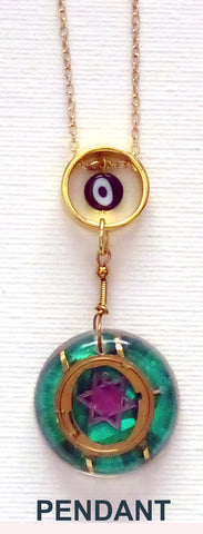 Hand Crafted Pendant with chain. One of a Kind Wearable Judaica Art  # P-006
