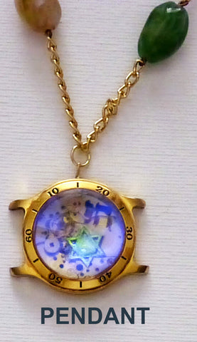 Hand Crafted Pendant with chain. One of a Kind Wearable Judaica Art  # P-013
