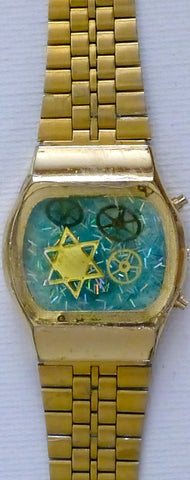 Hand Crafted Judaica Bracelet from Recycled Watches. One of a Kind Wearable Judaica Art  # BR-007