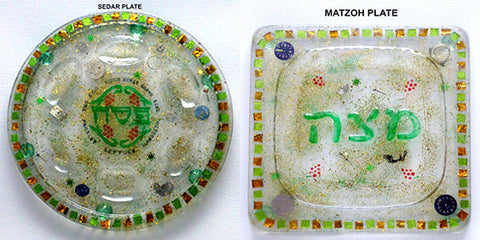 Hand Crafted Seder Plate and Matzah Plate Set.  One of a Kind Judaica Art for your Table # Set-002