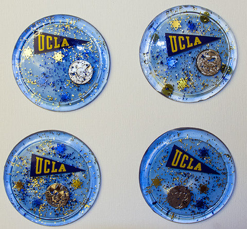 (4) UCLA HAND CRAFTED Judaica Coasters FOR YOUR HOME. ONE OF A KIND JUDAICA ART # C-002