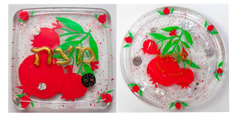 Pomegranate Seder Plate & Pomegranate Matzah Plate. Passover Plate.  Passover Gift.  Jewish Home Decor.  Judaica Home Decor.  # Set-003