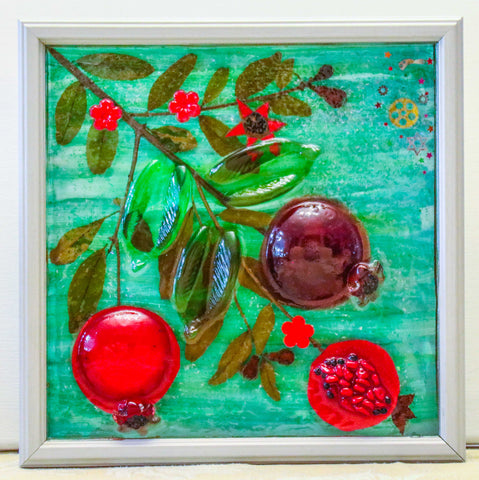 Pomegranate Framed Art Picture - Hand Painted Resin Framed Art.  - # 3D-009