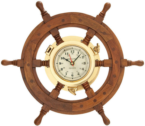 Benzara 01193 Wood Shipswheel Clock Unique Country Home Decor
