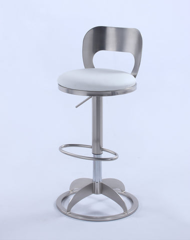 Chintaly 0408-AS Oval Metal-Back Adjustable Height Stool