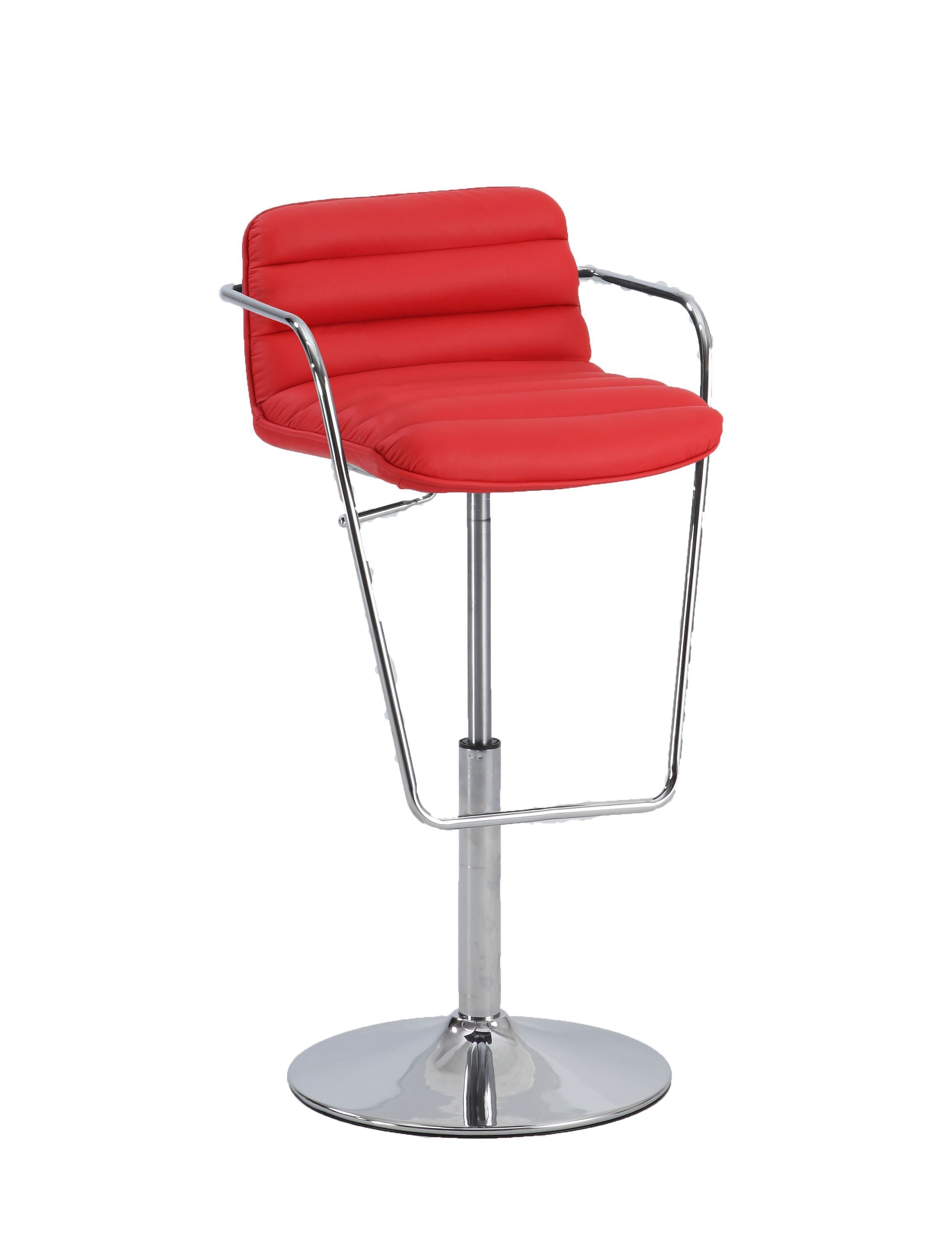 Chintaly 0692-AS-RED Ribbed Pattern Pneumatic Stool