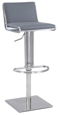 Chintaly 0896-AS-GRY Slanted Backrest Contemporary Pneumatic Stool