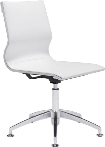 Zuo Modern 100378 Glider Conference Chair Color White Chromed Steel, Brushed Aluminum Finish - Peazz.com - 1