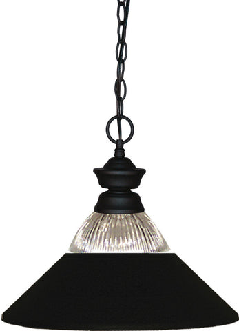 Z-Lite 100701MB-RMB 1 Light Pendant Shark Collection Clear Ribbed Glass & Matte Black Finish - ZLiteStore