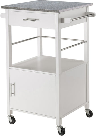 Winsome Wood 10123 Davenport Kitchen Cart with Granite Top White - Peazz.com - 1