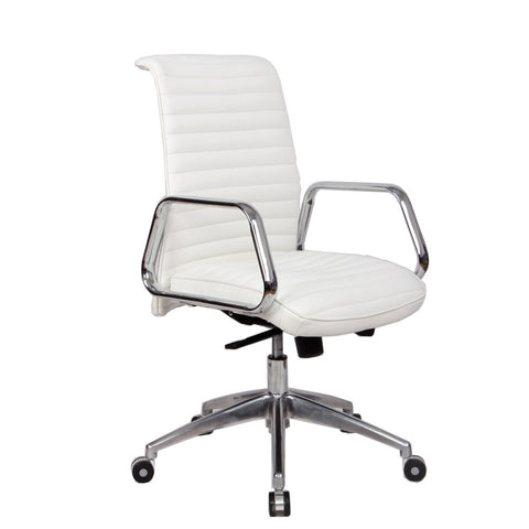 Fine Mod Imports FMI10179-white Ox Office Chair Mid Back, White - Peazz.com - 1
