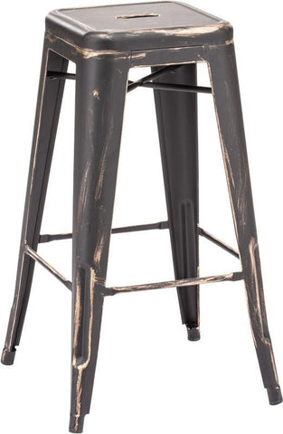 Zuo Modern 106108 Marius Barstool Color Antique Black Gold Steel Finish - Set of 2 - BarstoolDirect.com - 1