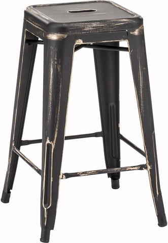 Zuo Modern 106112 Marius Counter Stool Color Antique Black Gold Steel Finish - Set of 2 - BarstoolDirect.com - 1