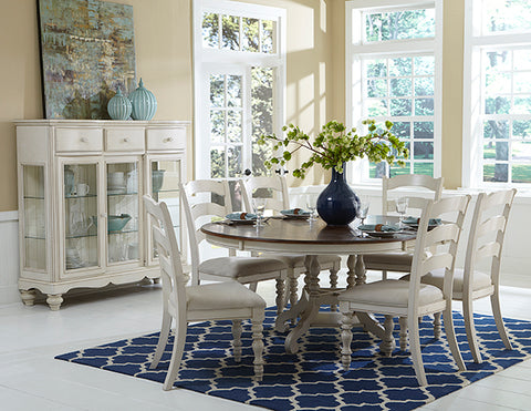 Hillsdale Furniture 5265DTBCL7 Pine Island 7PC Round Dining Set with Ladder Back Chairs