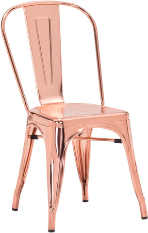 Zuo Modern 108061 Elio Dining Chair Color Rose Gold Steel Finish - Peazz.com - 1