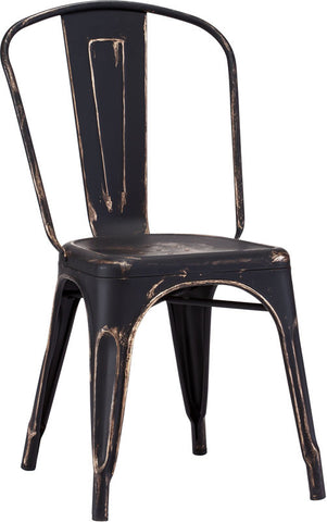 Zuo Modern 108143 Elio Dining Chair Color Antique Black Gold Steel Finish - Set of 2 - Peazz.com - 1