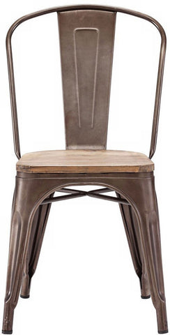 Zuo Modern 108144 Elio Dining Chair Color Rustic Wood Steel Finish - Set of 2 - Peazz.com