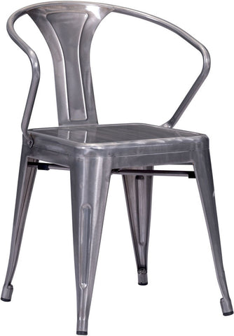 Zuo Modern 108145 Helix Dining Chair Color Gunmetal Steel Finish - Set of 2 - Peazz.com - 1