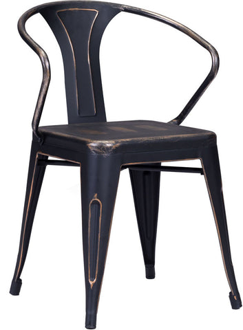 Zuo Modern 108147 Helix Dining Chair Color Antique Black Gold Steel Finish - Set of 2 - Peazz.com - 1