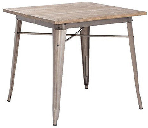 Zuo Modern 109124 Titus Dining Table Color Rustic Wood Steel Finish - Peazz.com