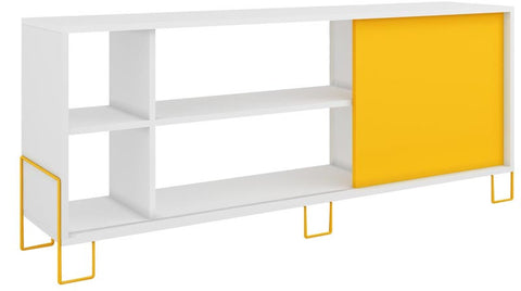 Accentuations by Manhattan Comfort Eye- catching Nacka TV Stand 2.0 with 4 Shelves and 1 Sliding Door in a White Frame and Yellow Door and Feet - Peazz.com - 1