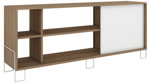 Accentuations by Manhattan Comfort Eye- catching Nacka TV Stand 2.0 with 4 Shelves and 1 Sliding Door in an Oak Frame with a White Door and Feet - Peazz.com - 1