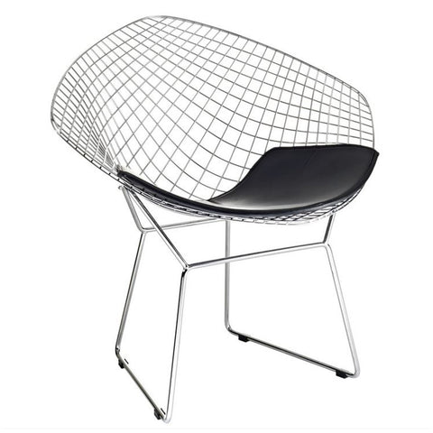 Fine Mod Imports FMI1157-black Wire Diamond Chair, Black - Peazz.com - 1