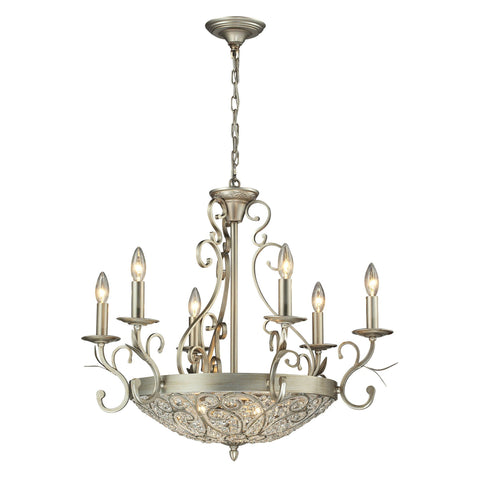 ELK Lighting 11696/6+3 Andalusia Collection Aged Silver Finish - PeazzLighting