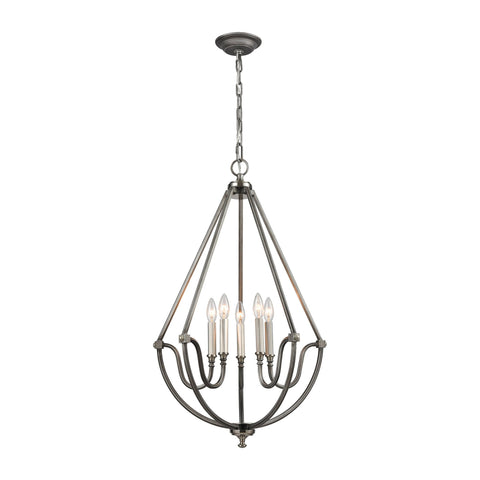 ELK Lighting 11842/5 Stanton Collection Weathered Zinc,Brushed Nickel Finish - PeazzLighting