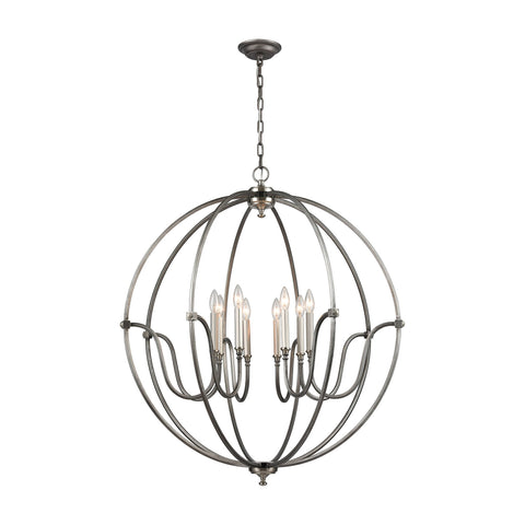 ELK Lighting 11844/8 Stanton Collection Weathered Zinc,Brushed Nickel Finish - PeazzLighting