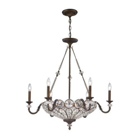 ELK Lighting 12033/6+3 Christina Collection Mocha Finish - PeazzLighting