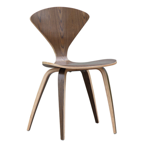Fine Mod Imports FMI1206-walnut Wooden Side Chair, Walnut - Peazz.com - 1