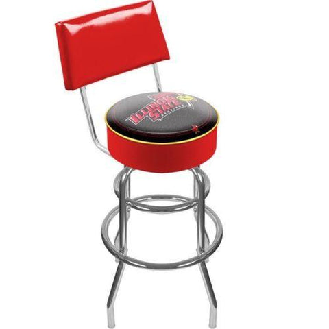 Lrg1100-Ilst Illinois State University Padded Bar Stool With Back