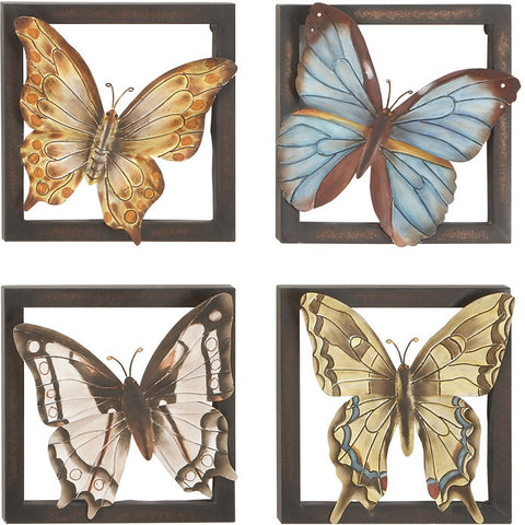 Benzara 13702 Metal Wall Decor 4/Asst With Butterflies Theme