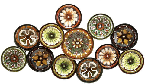 Benzara 13849 Metal Walldecor With Colorful Flowers Over Round Base