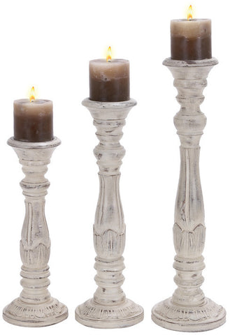 Benzara 14313 Wd Candle Holder S/3 20-Inch 17-Inch 15-Inch H