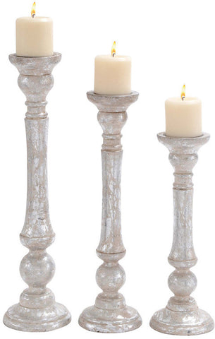 Benzara 14430 High Quality Wooden Candle Holder With Carved Detailing Set Of 3