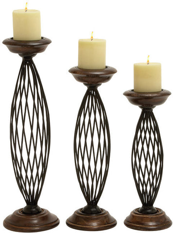 Benzara 14460 Traditional Metal Wood Candle Holder Set Of 3