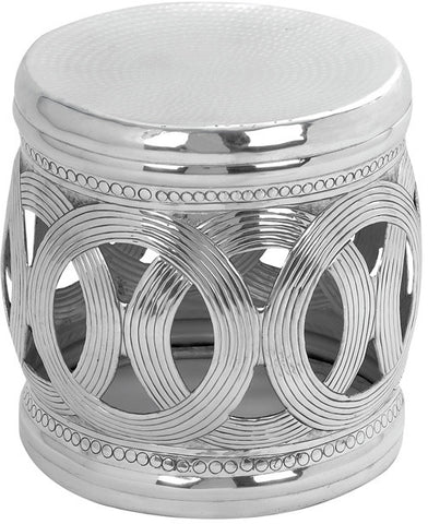 Benzara 16184 Aluminium Stool With Interconnected Ring Patterns