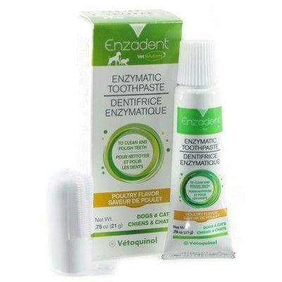Vetoquinol 16481 Enzadent Toothpaste & Fingerbrush For Dogs & Cats, Poultry Flavor - Peazz.com