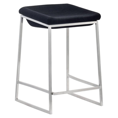 Zuo Modern 300037 Lids Counter Stool Color Dark Gray Brushed Stainless Steel Finish - Set of 2