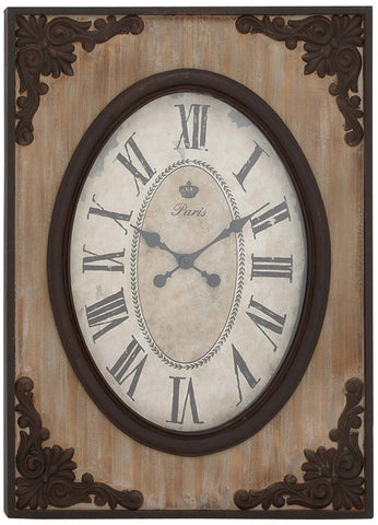 Benzara 18102 Country Style Wood Wall Clock