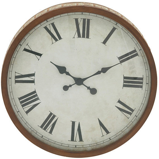 "Bayden Hill Metal Wood Wall Clock 20""D"