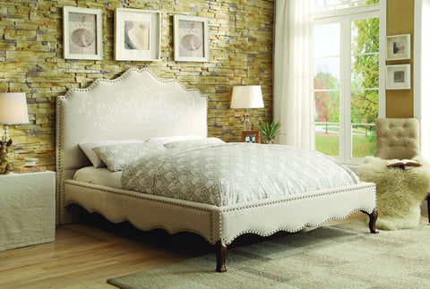 Homelegance 1889KN-1EK Kaine Collection Color Beige Linen/Polyester Fabric - Peazz.com