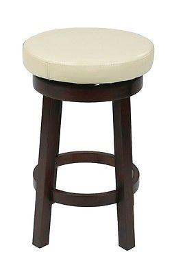 "Office Star OSP Designs MET1924-CM 24"" Metro Round Barstool in Cream Faux Leather"