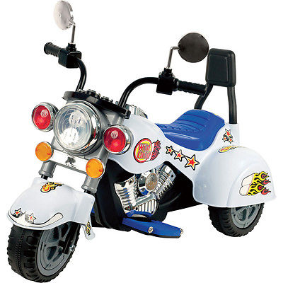 Trademark Commerce 80-YJ119W Harley Style Wild Child Motorcycle White - Battery Operated